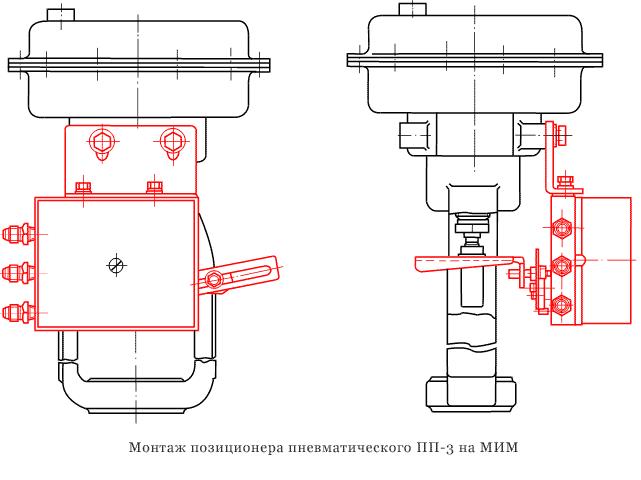 Позиционер пневматический ПП-3 - монтажная схема