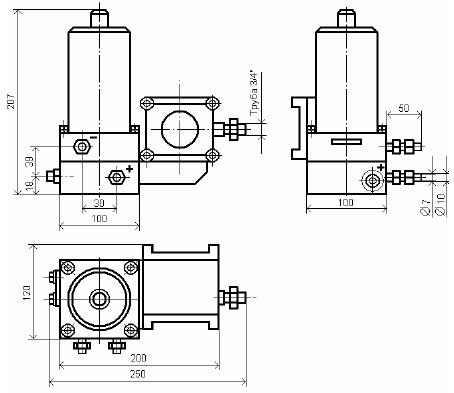 Схема габаритных размеров сигнализатора СПД-10/120