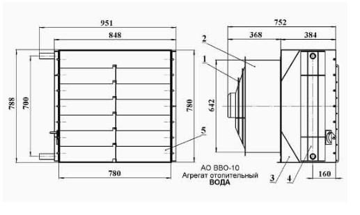 Схема Агрегата отопительного АО-ВВО.10