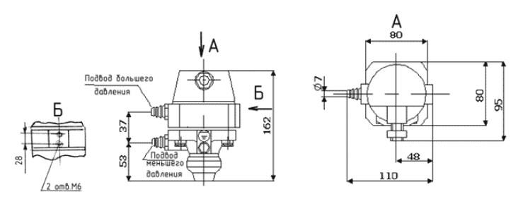 Схема габаритных размеров Реле РКПЖ-1