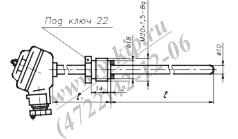 Габаритный чертеж термопар ТХА-1090В, ТХК-1090В - рис 1