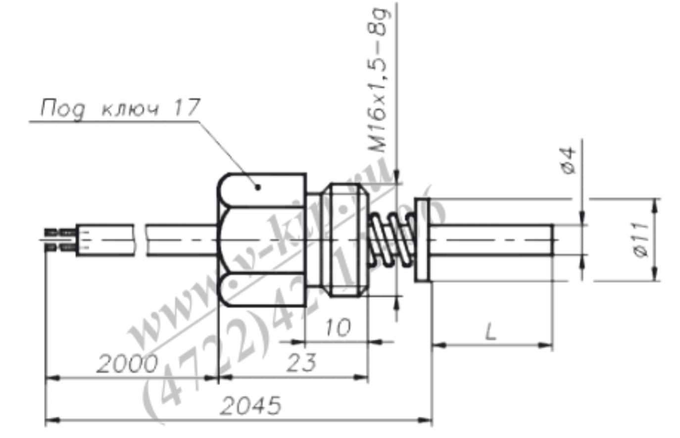 Габаритный чертеж преобразователей термоэлектрических ТХК-1190В
