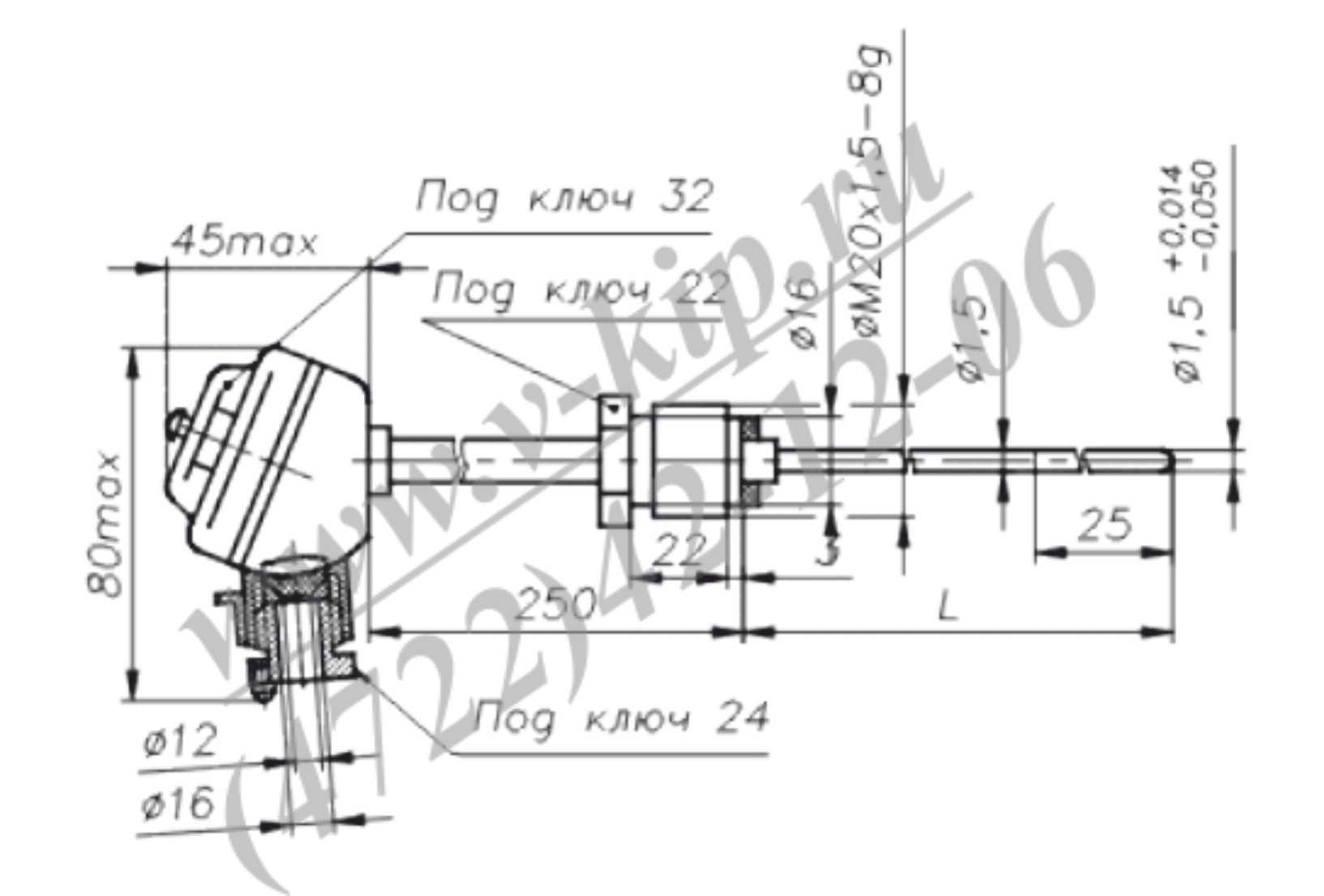 ТХА-1690В, ТХК-1690В термопреобразователи - габаритная схема 1