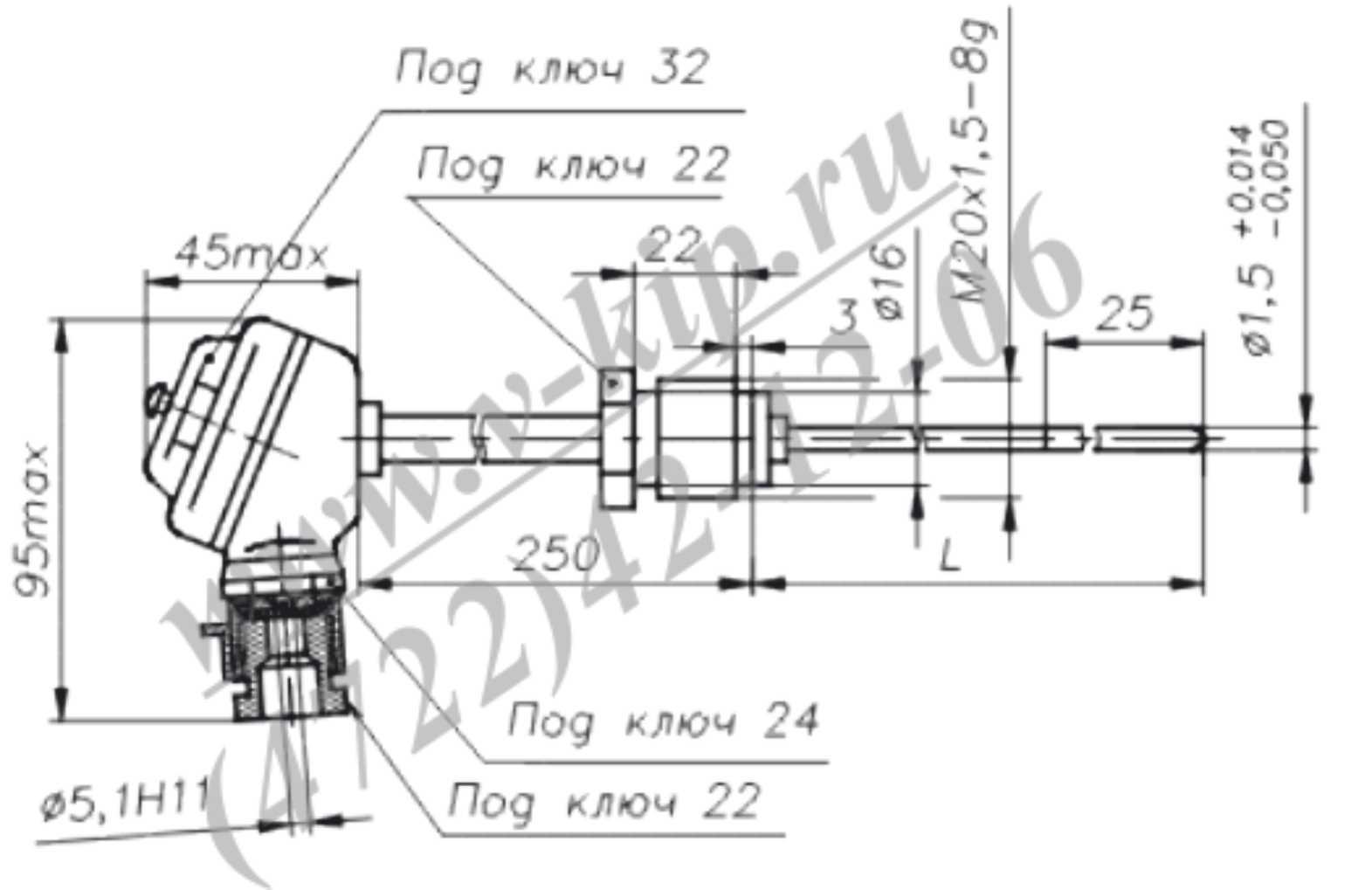 ТХА-1690В, ТХК-1690В термопреобразователи - габаритная схема 4