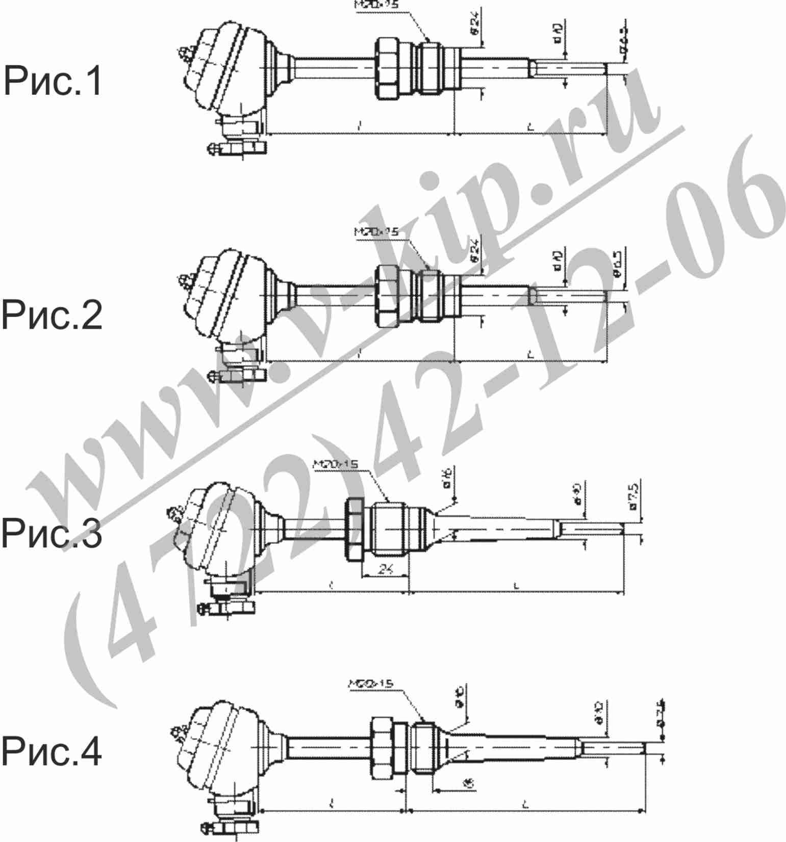ТСП-8040Р, ТСМ-8040Р термопреобразователи - габаритная схема