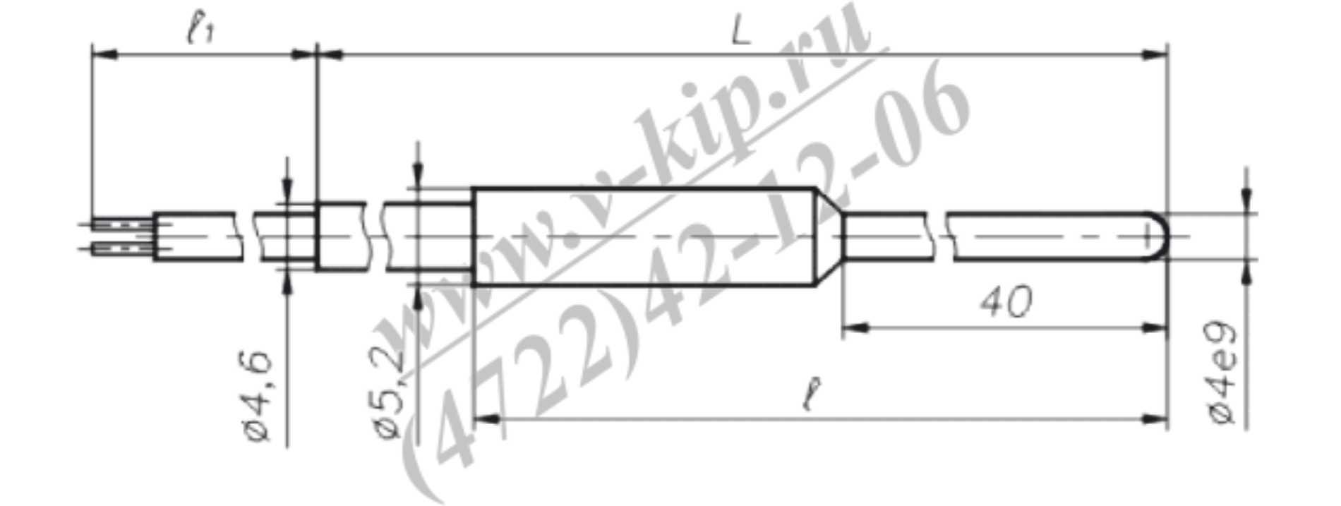 Термопреобразователь ТСП-1790В габариты