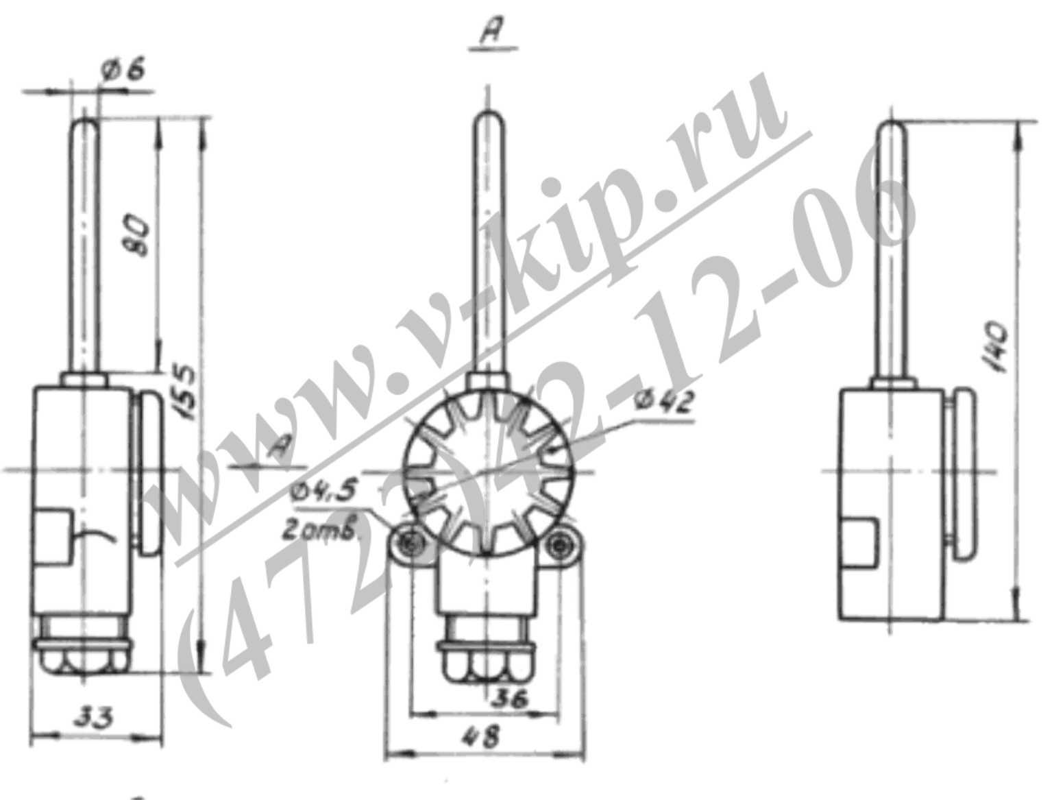 Габаритная схема - Термопреобразователи ТСП-0987, ТСМ-0987
